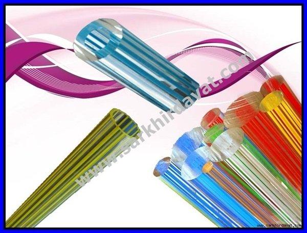 Pleksiglass Renkli Çizgili Boru ve Çubuklar